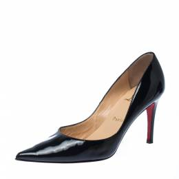 Christian Louboutin Black Patent Leather Pigalle Pointed Toe Pumps Size 37 227994