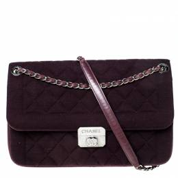 Chanel Dark Purple Quilted Fabric Chic With Me Shoulder Bag 226802
