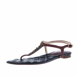 Chanel Red Leather CC Star Logo T Strap Thong Flat Sandals Size 38 228143