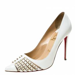 Christian Louboutin White Leather Bareta Spike Pointed Toe Pumps Size 39.5 228097