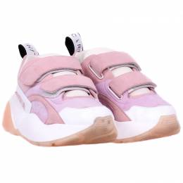 Stella McCartney Pink Suede And Leather Eclypse Velcro Sneakers Size 39 225182