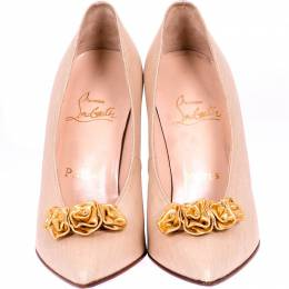 Christian Louboutin Beige Leather And Gold Floral Applique Pumps Size 37.5 225183
