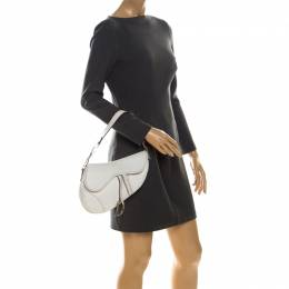 Dior White Leather Saddle Bag 223702