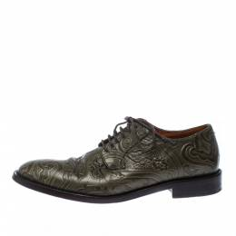 Etro Green Embossed Leather Paisley Lace Up Derby Size 40 227838
