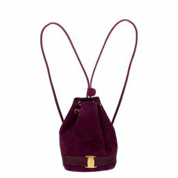 Salvatore Ferragamo Purple Suede and Leather Drawstring Backpack 226661