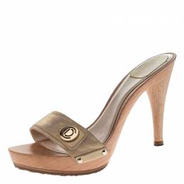 Dior Metallic Beige Leather Open Toe Platform Sandals Size 40 228445