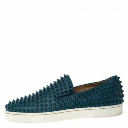 Christian Louboutin Blue Leather Roller Boat Spike Slip On Sneakers Size 41.5 225772