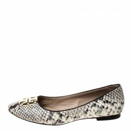 Tory Burch Two Tone Python Embossed Leather Reva Ballet Flats Size 37.5 228160