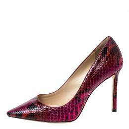 Jimmy Choo Fuschia Pink Python Leather Anouk Pointed Toe Pumps Size 37.5 228163