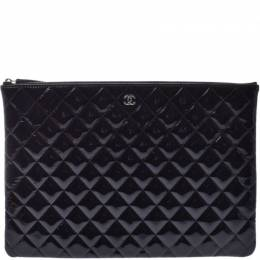 Chanel Black Quilted Matrasse Leather O-Case Clutch Bag 227566