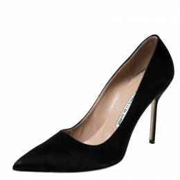 Manolo Blahnik Black Satin BB Pointed Toe Pumps Size 39.5 228157