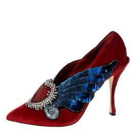 Dolce& Gabanna Red Lori Velvet Heart Embroidered Pointed Toe Pumps Size 40 Dolce & Gabbana 228404