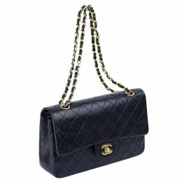 Chanel Black Quilted Leather Medium Vintage Classic Double Flap Bag 229138