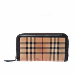 Burberry Beige/Brown Haymarket PVC and Leather Zip Around Wallet 227405