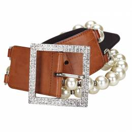Valentino Brown Leather and Faux Pearl Belt 75CM 229160