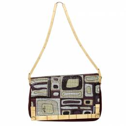 Emilio Pucci Multicolor Suede and Metal Armored Mesh Flap Shoulder Bag 226742