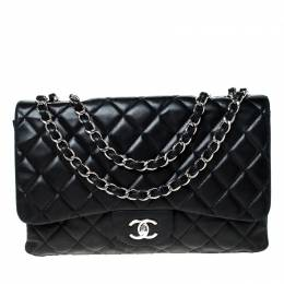 Chanel Black Quilted Leather Jumbo Classic Single Flap Bag 226814