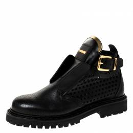 Balmain Black Peforated Leather Ankle Boots Size 36 228425