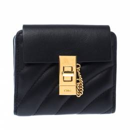 Chloe Black Quilted Leather Compact Drew Wallet 228042