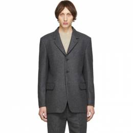 Lemaire Grey Felted Wool Blazer 192646M17601003GB
