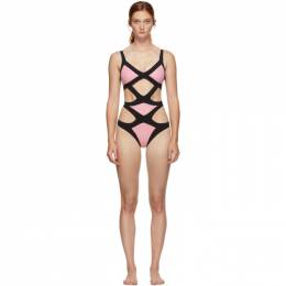 Agent Provocateur Pink and Black Mazzy One-Piece Swimsuit 192281F10300101GB