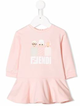 Fendi Kids - friends print dress 00995NF96WG955805860