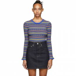 Opening Ceremony Blue and Multicolor Striped Sweater 192261F09600603GB