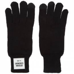 Opening Ceremony Black Knit Logo Gloves 192261M13500101GB