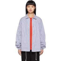 Comme Des Garcons Shirt Blue and White Striped Coach Jacket 192270F06300401GB