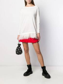 P.A.R.O.S.H. - feather-embellished boat-neck jumper 60069553536000000000