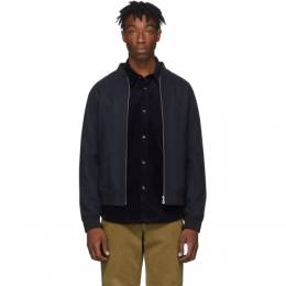 A.P.C. Navy Wool Mouline Lota Bomber Jacket 192252M17500402GB