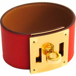 Hermes Kelly Dog Red Leather Gold Pleated Bracelet 228591