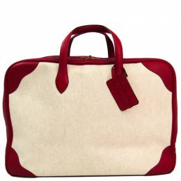 Hermes Beige/Red Canvas Leather Victoria 50 Boston Bag 228711