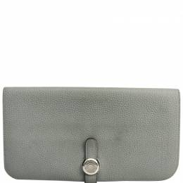 Hermes Gray Taurillon Clemence Leather Dogon Long Wallet 228533