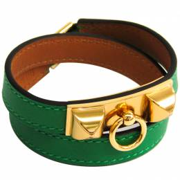 Hermes Medor Double Tour Bambou Swift Leather Gold Pleated Bracelet 228579