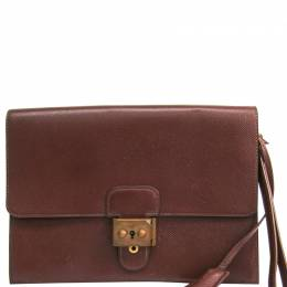 Hermes Brown Courchevel Leather Jet Clutch Bag 228566