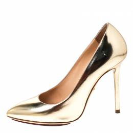 Charlotte Olympia Gold Patent Leather Monroe Pointed Toe Pumps Size 36.5 232048