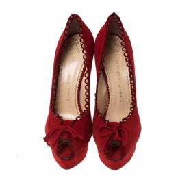 Charlotte Olympia Red Suede Daphne Scalloped Trim Peep Toe Platform Pumps Size 40 233349