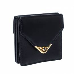 Cartier Black Sapphire Embellished Leather Coin Wallet 232204