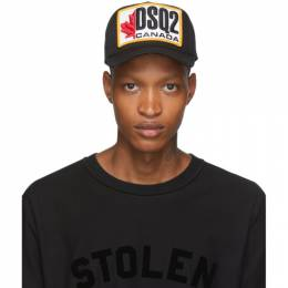 Dsquared2 Black Patch Embroidered Baseball Cap 192148M13901101GB