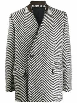 Haider Ackermann - collarless herringbone blazer 36650636889566353900